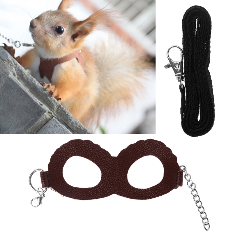 Pet Harness Adjustable Walking Leather Guinea Pig Hamster Training Leash