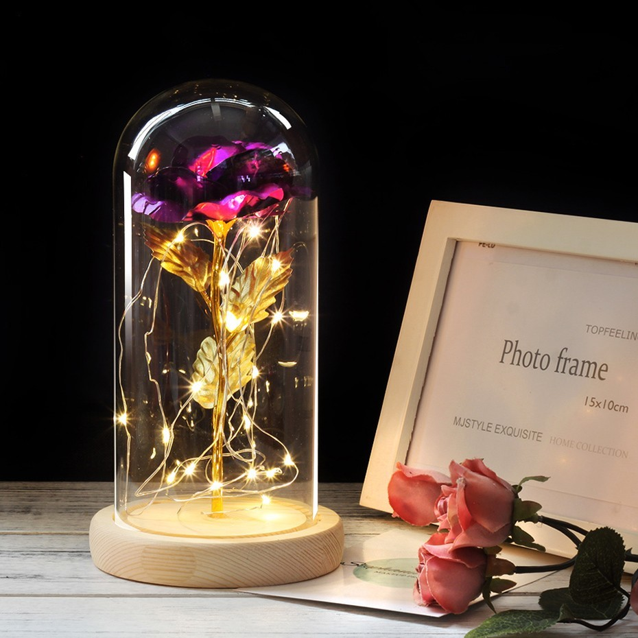 6 цветов Красота и чудовище красная роза в стеклянном куполе на деревянной основе для подарков Святого Валентина светодиодный лампы с розами Рождество - Цвет: purple