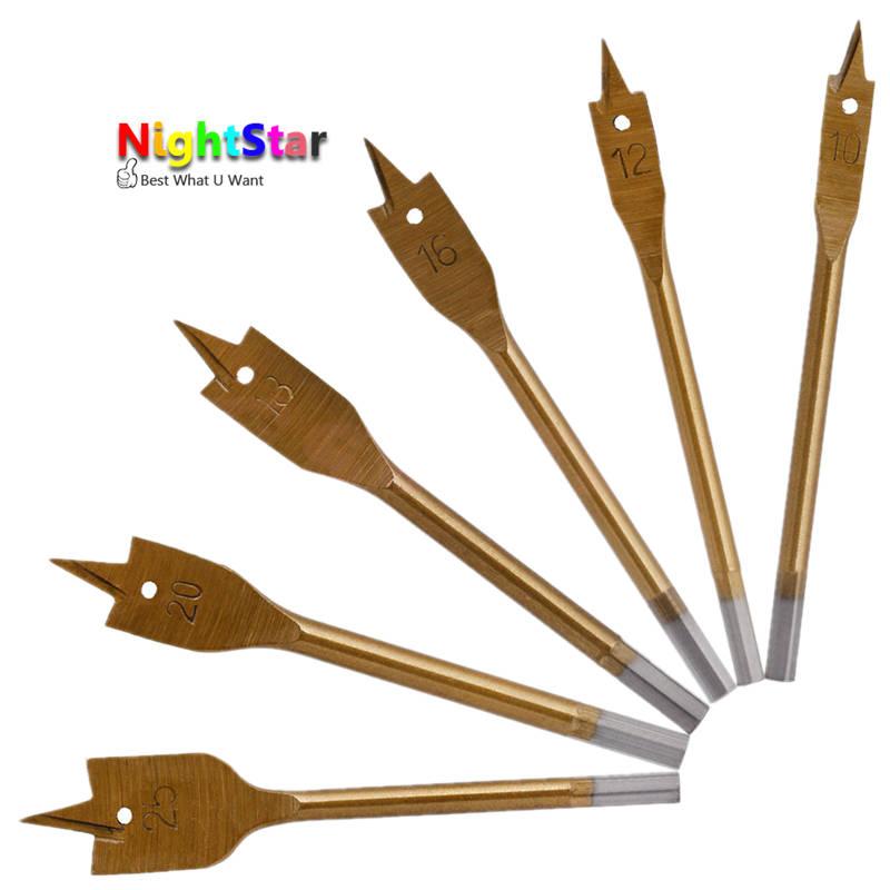 HI-Q 6pcs/Set Tools Industrial Spade Paddle Flat Wood Boring Drill Bit 10/12/16/18/20/25 mm new 6pc industrial spade paddle flat wood boring drill bit set tools