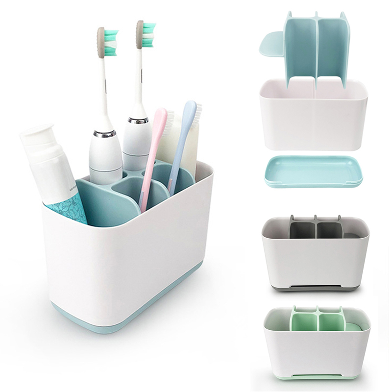 Plastic Toothbrush Holder Bathroom Storage Basket For Organizer Toilet Toothpaste Box Washing Set Electric Toothbrush Cup Shelf image