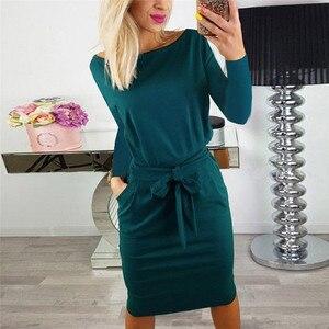 Image 5 - 2019 jesienno zimowa sukienka damska z długim rękawem czarna niebieska sukienka Casual Slim Sashes Midi bawełniana sukienka Plus rozmiar modna odzież 3XL
