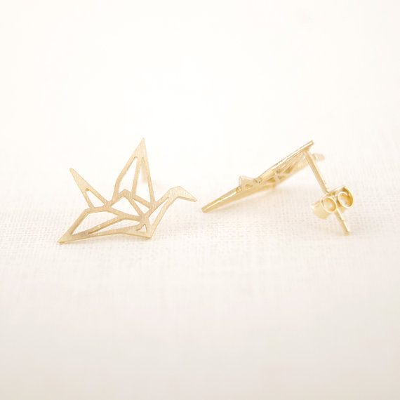 Jisensp New Fashion Wholesale Jewelry Wild Origami Crane Earrings for Women Vintage Cute Animal Bird Stud Earrings Pendientes 4
