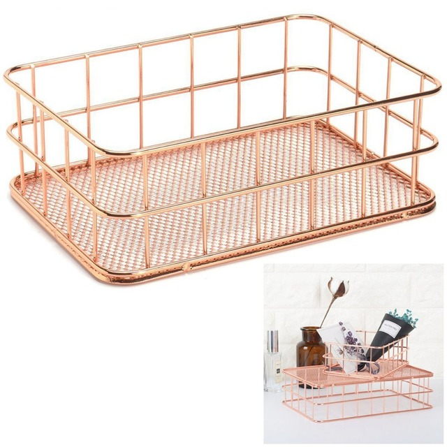 Storage Basket Metal Wire Bathroom Shelves Makeup Organiser Rose Gold Brush Pen Holder Mesh Toiletries B