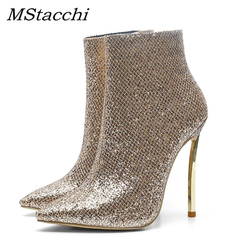 eeb2860e Mstacchi Bling Cm Zapatos Alto Primavera De Tobillo Cremallera Chic  Elegante Botas Damas Tacón Punta Moda Oro Mujer ...