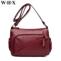 WHX Brand Designer Soft Leather Messenger Bags Casual Women Bag Fashion Single Shoulder Bag Double Zipper