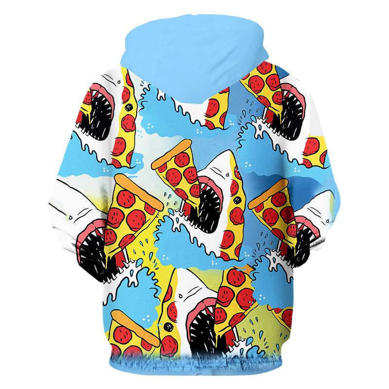 OGKB новая толстовка на молнии для женщин/мужчин забавная печать Акула едят пиццы 3d Толстовка мужская хип хоп модный бренд осенний пуловер Толстовка 6XL