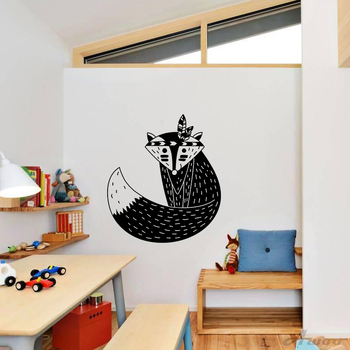 Cartoon Lovely Fox feather Vinyl Wall Sticker Decals Removable Lovely Nursery Unique Murals Gift Baby Room Home Decoration
