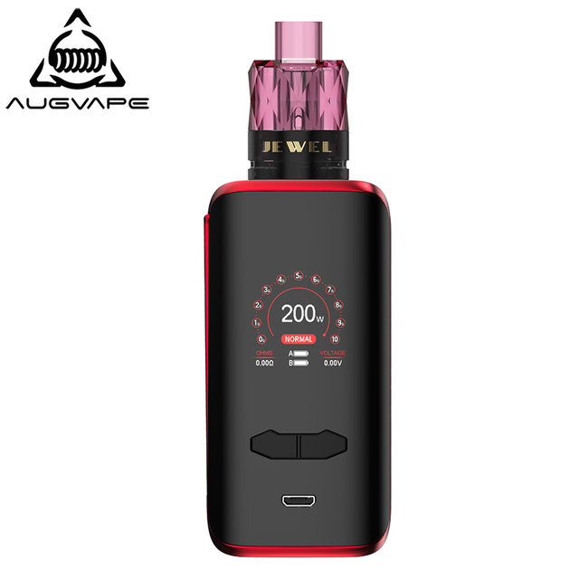 Augvape VX200 Box Mod Kit With Disposable Jewel Subohm Tank 200W 1.3 Inch Color Display Dual 18650 Battery Electronic Cigarette