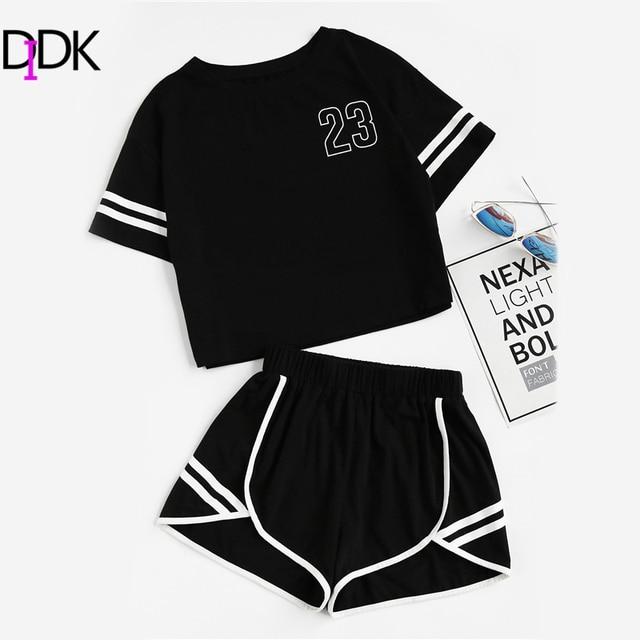 DIDK Crop Varsity T-shirt And Contrast Binding Notch Shorts Set Women Round Neck Short Sleeve Striped Sets Summer 2 Shorts Sets