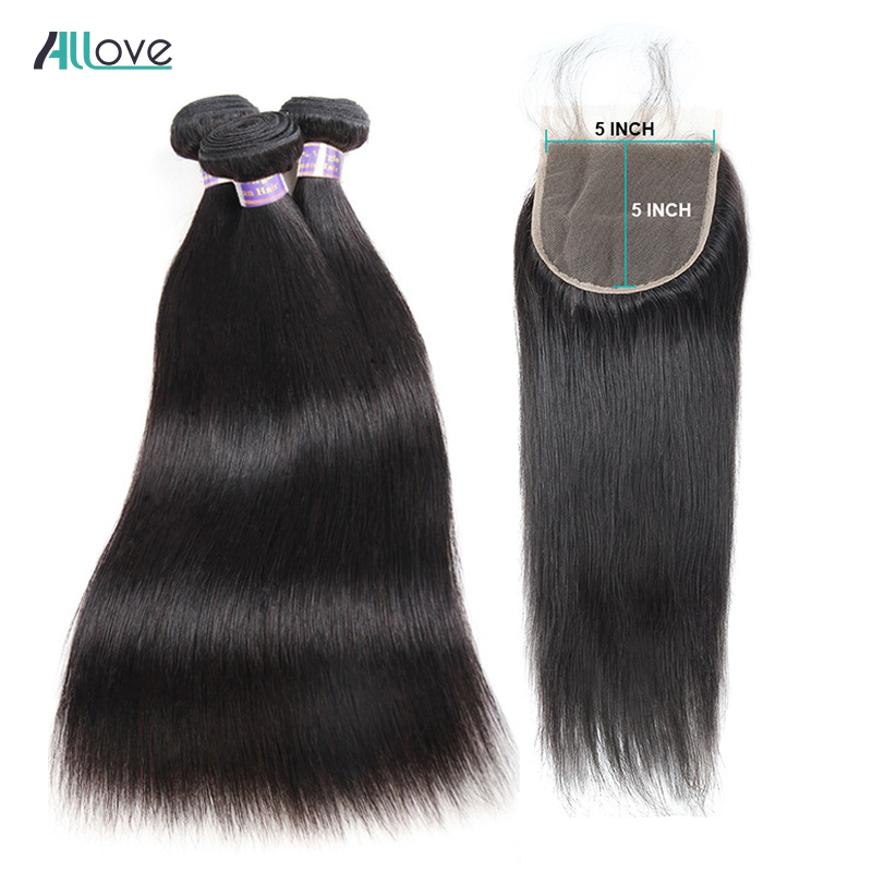 Allove Brazilian Straight Hair Bundles With Closure Non Remy Hair 3 Bundles With 5X5 Closure Human