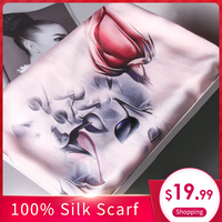 Ladies 100% Pure Silk Scarf Luxury Brand 2018 Shawls and Wraps for Women's Print Muffler Wrap Long Natural Real Silk Scarves