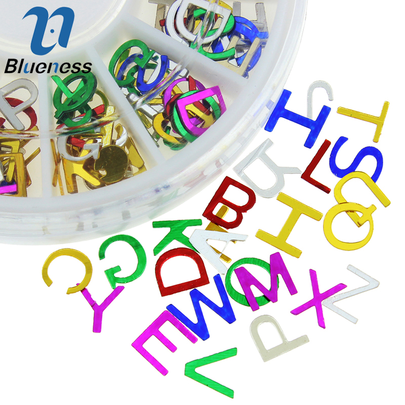 Colorful A-Z 26 Eanglish Letters Metal Sequins Wheel Decorations Nail Art 3D ABC Alphabet Studs Supplies For Nails ZP208 24 bottles 3d colorful shiny nail glitter powder sequins manicure festival nail art decorations for women