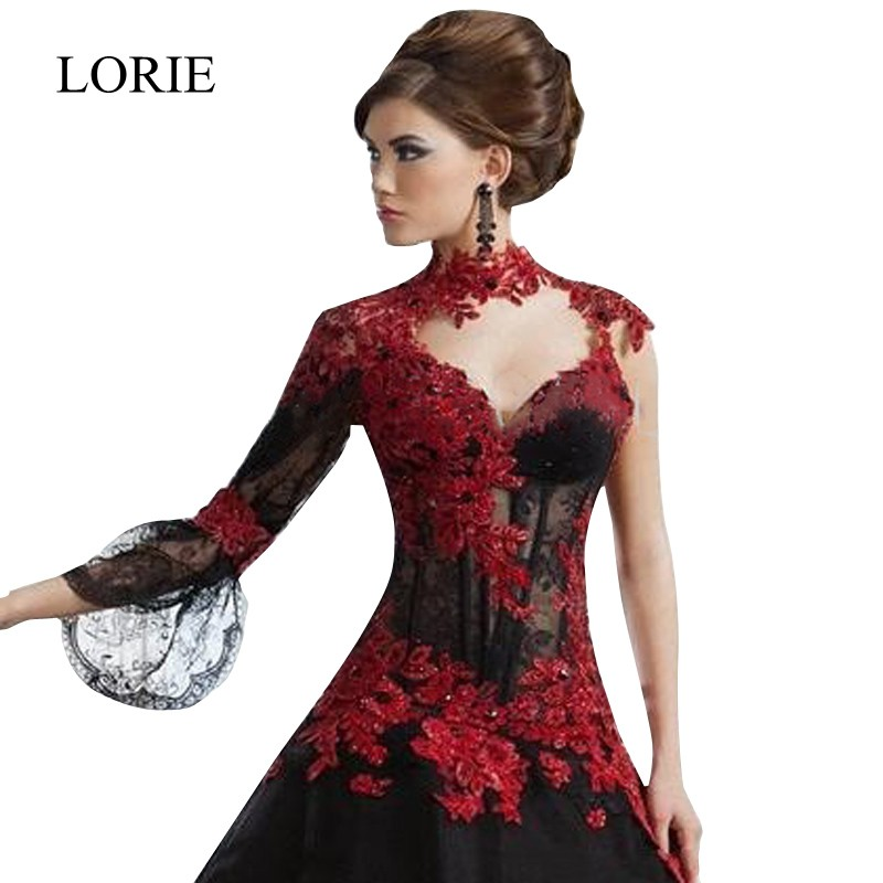 Real Black Gothic Ball Gown Wedding Dresses 2016 High Neck Long ...