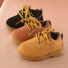 Baby boy boots 2017 autumn black leather short paragraph yellow martin boots kids little girl boots kids rubber boots