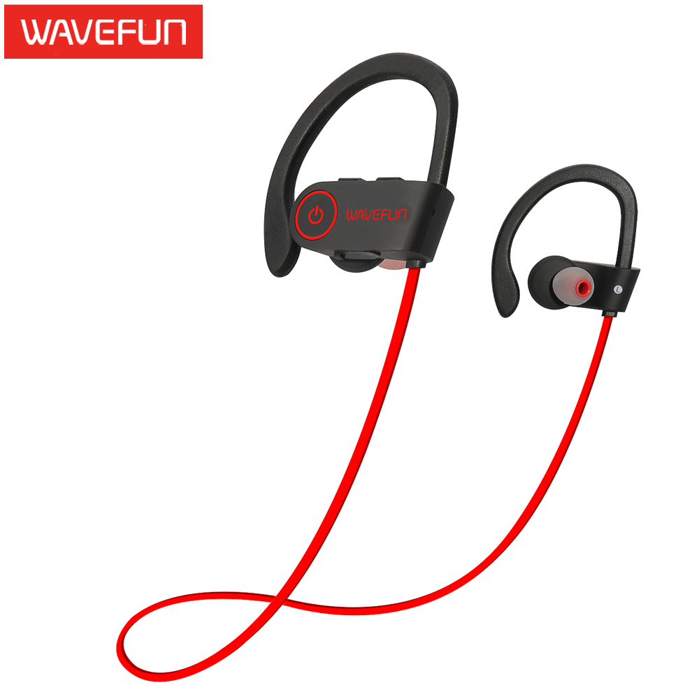 Wavefun Xbuds Wireless Bluetooth Headphones Ipx7 Waterproof Stereo With  Bass Sports Earphone With Mic