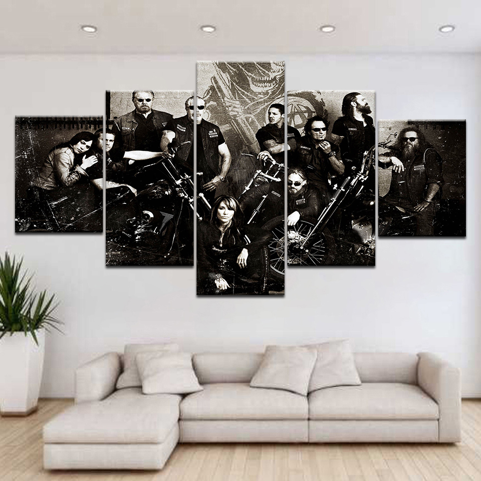5Panel HD Printed Sons of Anarchy TV series wall posters Print On Canvas Art Painting Fo ...