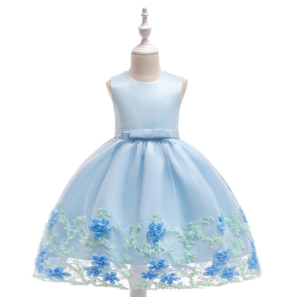 Light Blue High Low Organza Flower Girl Dresses 2018 Luxury Pearls
