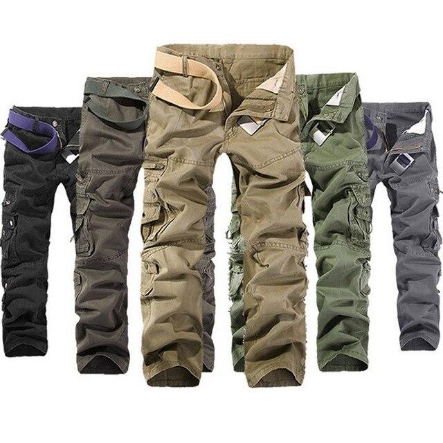 Puimentiua Mens Casual Tactical Calças Corredores Masculino Calças Da Carga Calças de Algodão de Multi Bolso Calças Estilo Militar Verde Tamanho 40