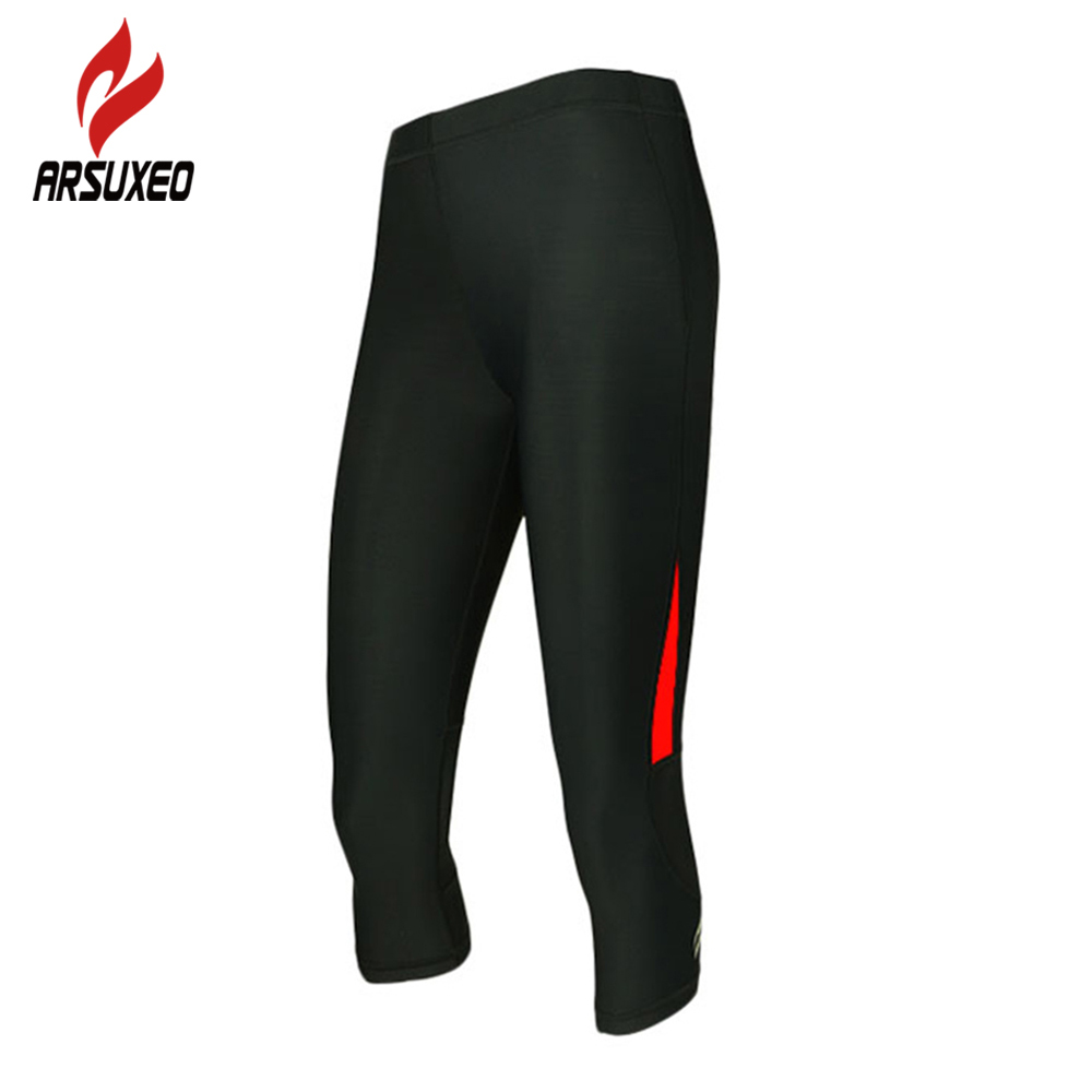 ARSUXEO Women 3/4 Compression Tights Base Layers Running Jogging Gym Bodybuilding Workout Fitness Excercise Pants Sportswear