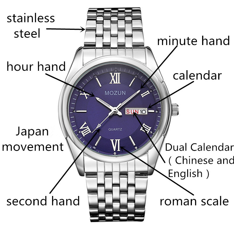 Naujas laikrodis Vyriški laikrodžiai Dual Date Quartz Vyriški - Vyriški laikrodžiai - Nuotrauka 4