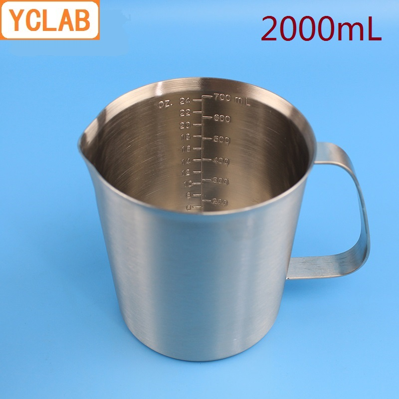 YCLAB 2000mL 304 Stainless Steel Measuring Cup 2L Beaker With Graduation Laboratory Kitchen Latte Art Coffe Cup