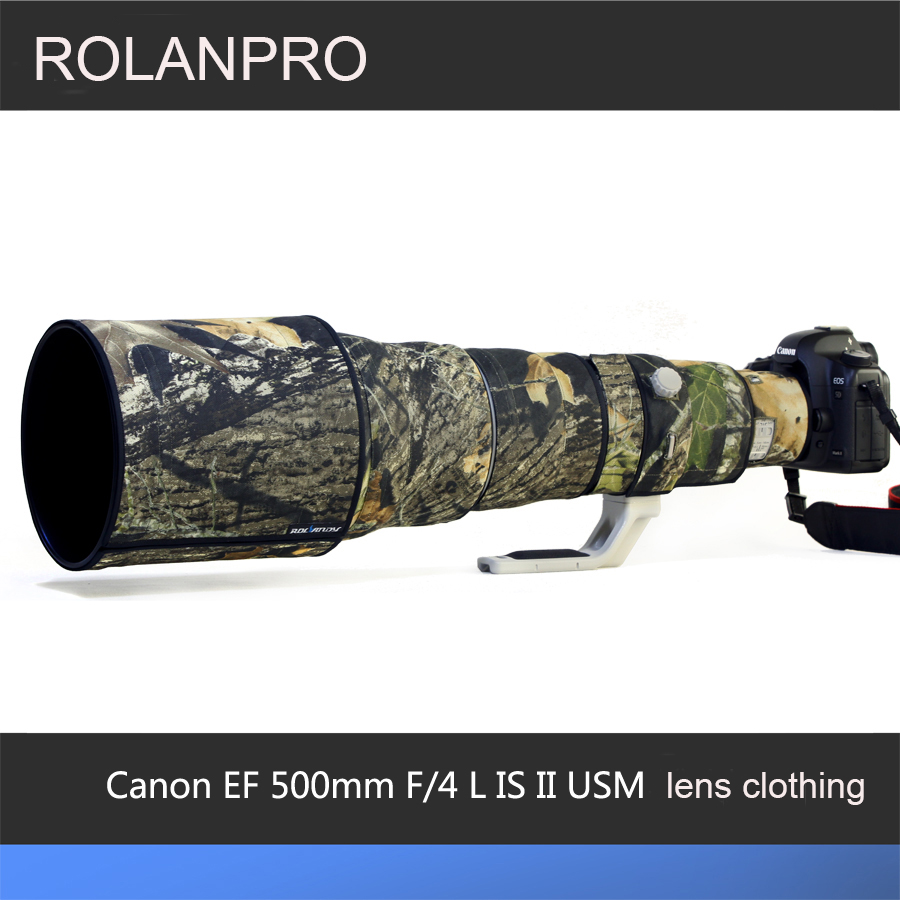 ROLANPRO Lens Camouflage Rain Cover for Canon EF 500mm F/4 L IS II USM  Lens Protective Case Guns Clothing SLR Cotton Clothing rolanpro lens camouflage rain cover for nikon af 80 400mm f 4 5 5 6d ed vr lens protective case guns clothing slr cotton
