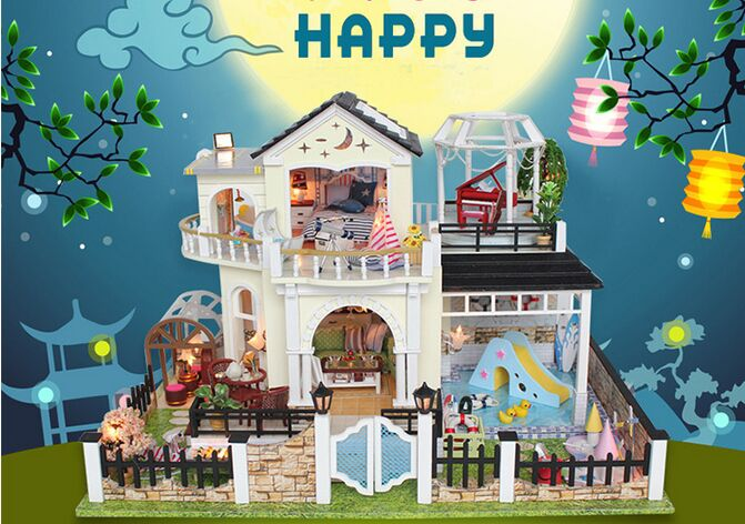 Nouvelle arrivée grand cadeau de noël moonlight maison en bois avec des meubles 3D Puzzle jouet cadeaux
