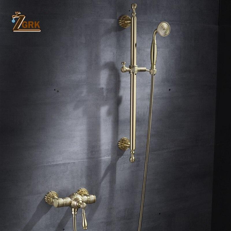 ZGRK robinets de douche en laiton de luxe robinets de baignoire douche de pluie de poche salle de bains sanitaire mural mitigeur de douche ensembles HS019