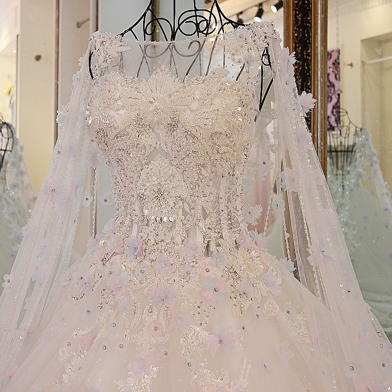 Image 2 - LS54770  Luxury Bridal Dress With Long Cape Ball Gown Tulle Corset Back Bling Luxury Wedding Dress Long Traindress childrendress shirt sleeve measurementdresses warehouse -