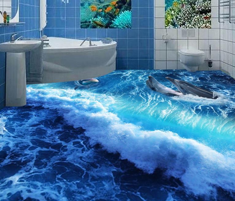 ФОТО custom wallpaper self adhesive 3d flooring Dolphin Wave kitchen wallpaper vinyl flooring adhesives