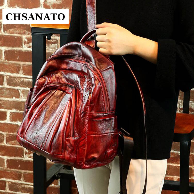 Chsanato Mochila Femininas Retro Genuine Leather Backpack Women Travel Bag College Preppy School Bag For Teenagers Girls
