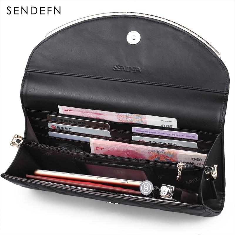 Sendefn 2018 New Genuine Leather Women Bag Sheep Skin Women Crossbody Bags Luxury Classical Messenger Bag Black Shoulder Bag