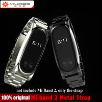 Mijobs Screwless Metal Wrist Strap For Original Xiaomi Mi band 2 OLED Display Smart Bracelet Wristbands Black Silver