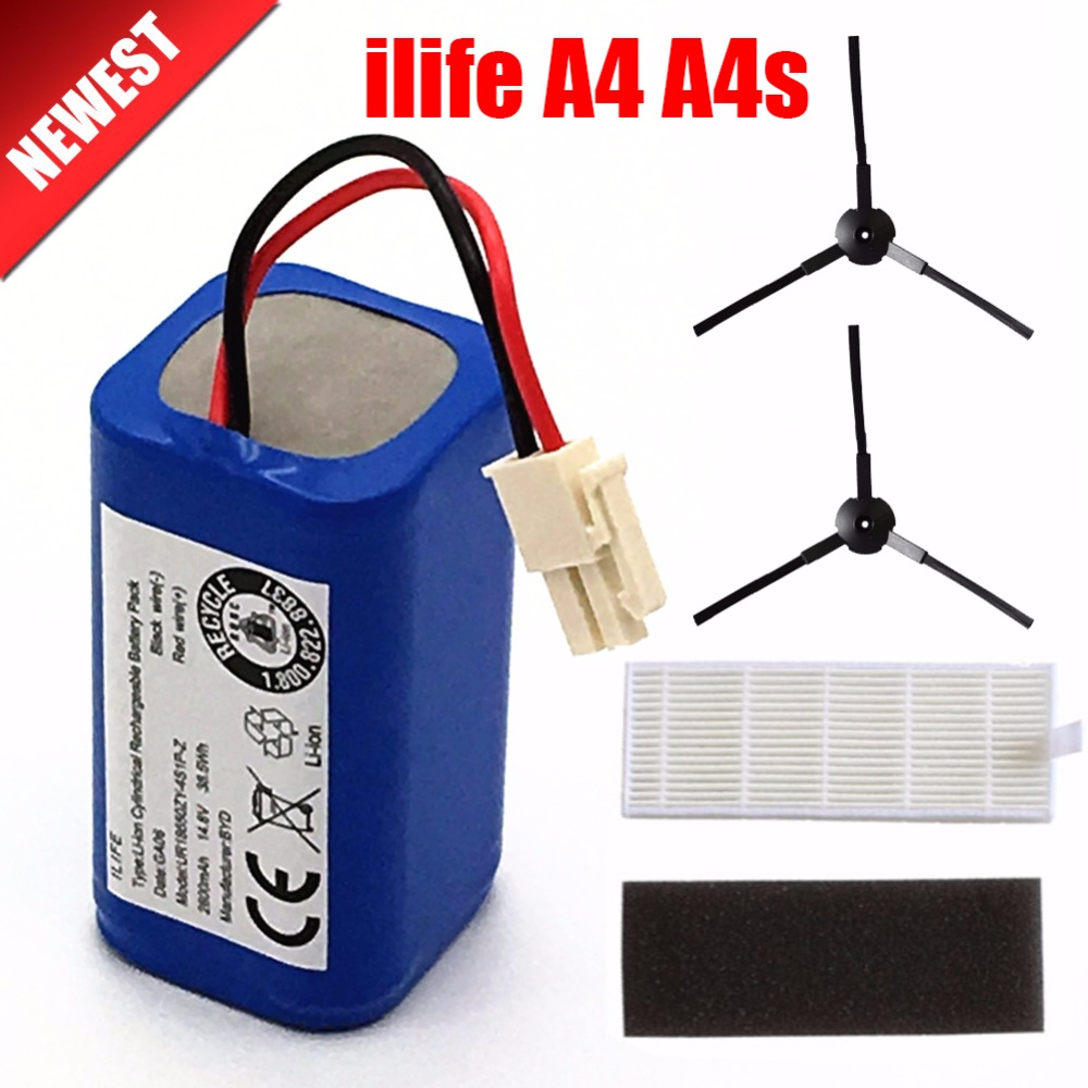 Rechargeable ILIFE Battery 2*filter+2*brush 14.8V 2800mAh Robotic Vacuum Cleaner Accessories Parts For Chuwi Ilife A4 A4s A6