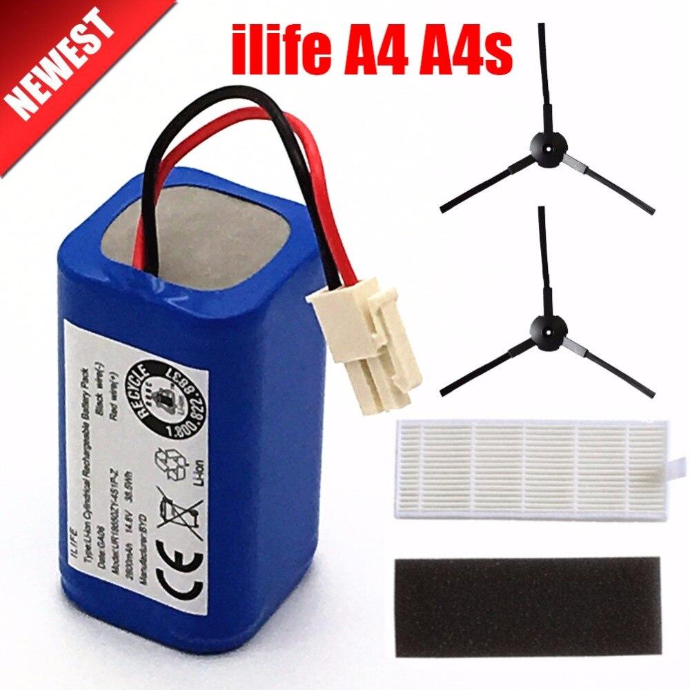 Ricaricabile ILIFE Batteria 2 * filtro + 2 * spazzola 14.8 V 2800 mAh robotic vacuum cleaner accessori di ricambio per Chuwi ilife A4 A4s A6