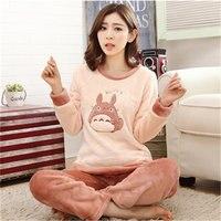 Cartoon Totoro Women Pyjamas Sets Thick Warm Coral Velvet Suit Flannel Long Sleeve Female Animal Bear
