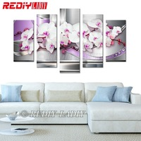 REDIY LADIY Diamond Painting Triptych Square Diamond Embroidery Crystal Mosaic Modular Picture Orchid Flower Home Decor Wall Art