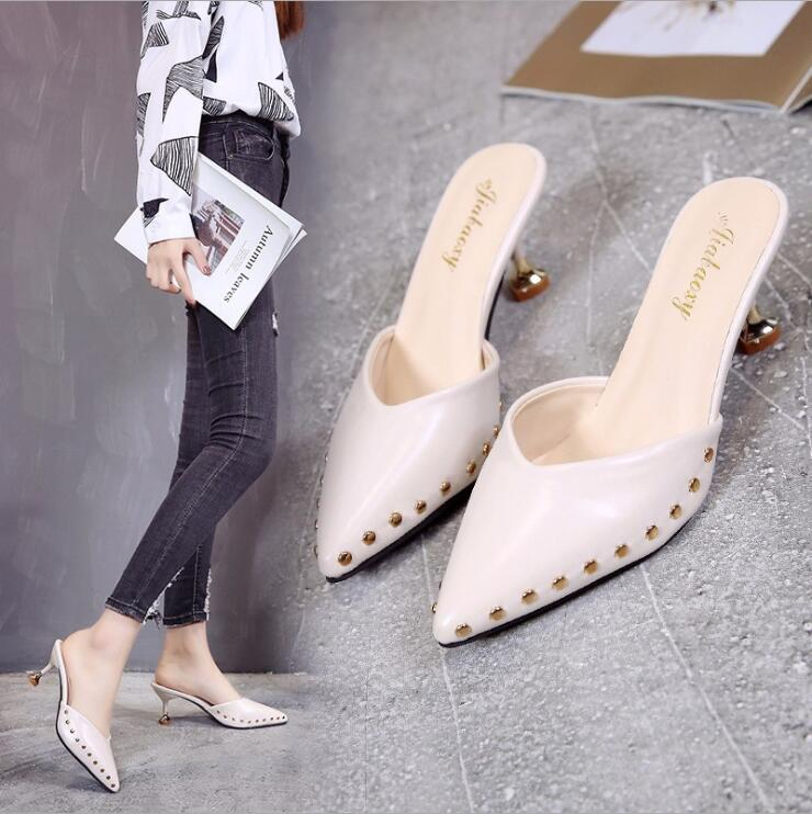 Candy-colored slippers 2019 summer new pointed rivets with high heels flip flops slippers Female sandals Sandalias femenina s084 4