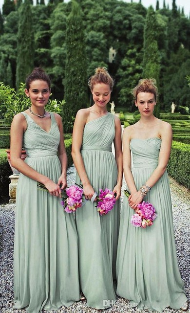 A B C Three Style 2016 Por Bridesmaid Dresses Sweetheart Long Cyan Chiffon For Wedding Gowns Plus Size