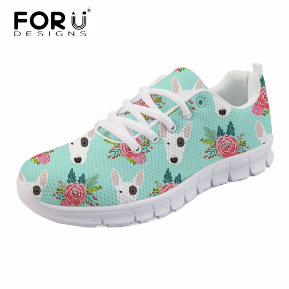 FORUDESIGNS 2018 Cute Bull Terrier Ladies Girls Casual Flats Women Comfortable Mesh Sneakers Spring Light Lace-up Walking Shoes instantarts women flats emoji face smile pattern summer air mesh beach flat shoes for youth girls mujer casual light sneakers