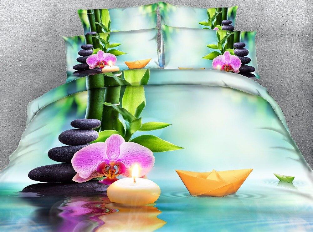 Imprimé floral housse de couette reine 3d bateau ensemble de literie 3/4 pièces double roi complet cal roi vert pierre literie enfants enfant décor à la maison