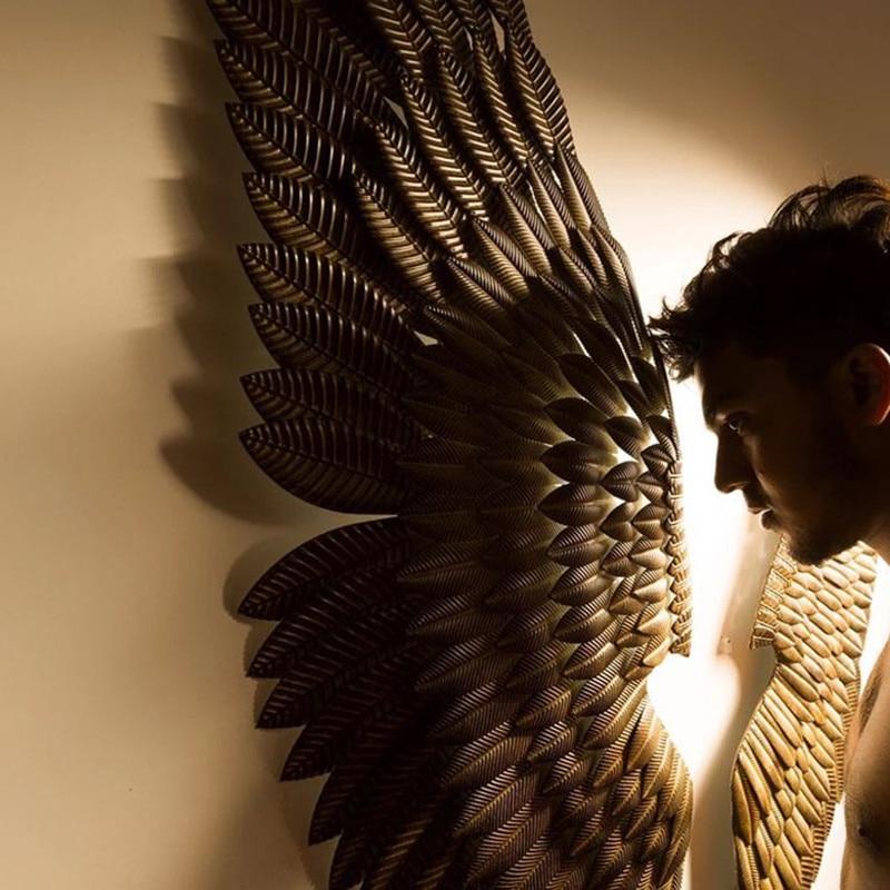 Creative Décor À La Maison Abstrait Rétro Aile Mur Sculpture Décoration Figurine Décoratif Wing Métal Statue TV Fond De Noël Cadeau