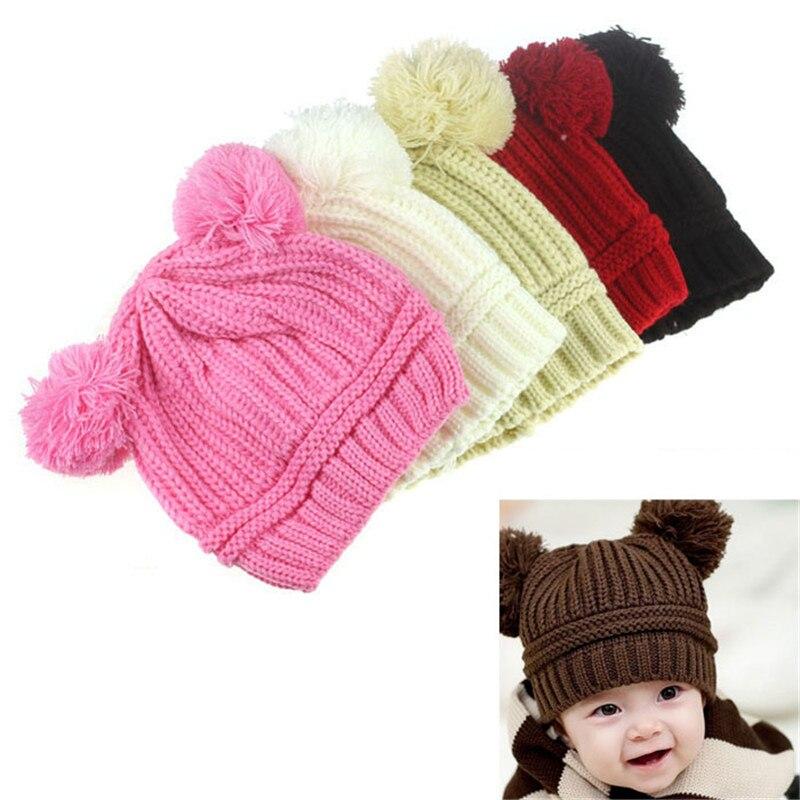 2017 Winter Baby Kids Hat for girl boy Cap Cute Dual Balls Warm Knitted Beanie Autumn Newborn Children Hats with Ears