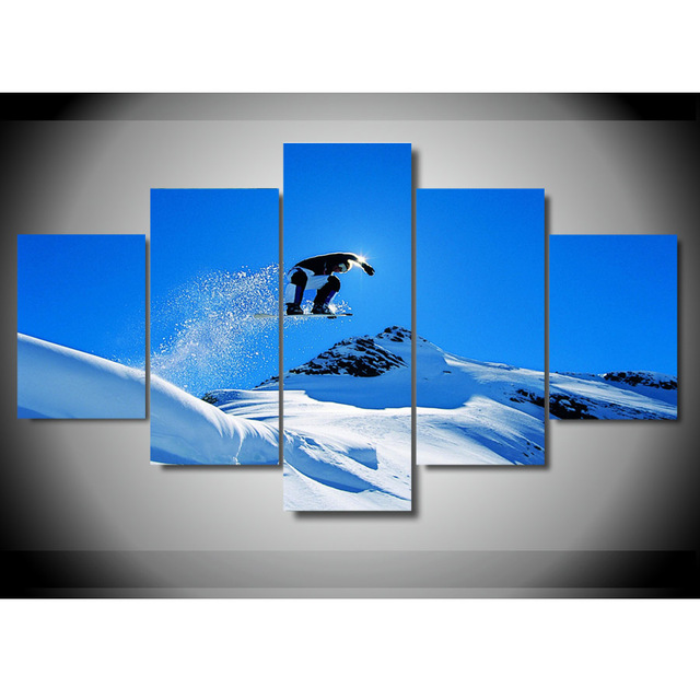 New 5 Pieces/sets Canvas Art 5 panels Snowboard HD Canvas Paintings ...