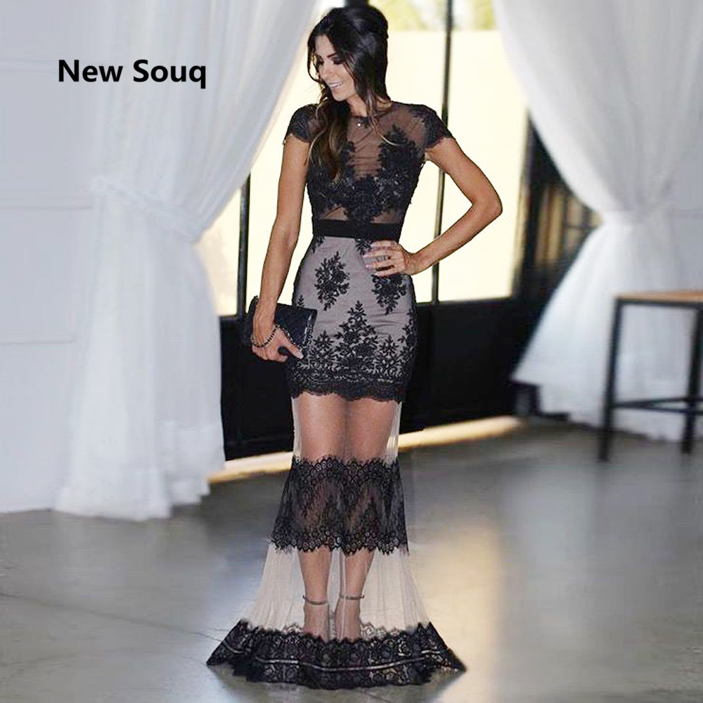 Black Applique Lace Evening Dresses Cap Sleeves Mermaid Illusion Tulle Sexy Prom Dress Arabic Africa Evening Gowns