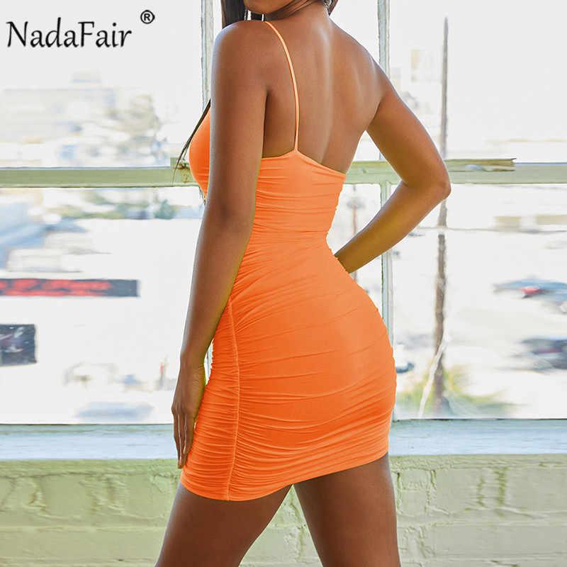 Nadafair Сексуальная одно плечо неоновое платье летнее платье с низким вырезом на спине, с рюшами, облегающее мини платье Для женщин Обёрточная бумага Клубные вечерние платье зеленого, оранжевого цвета 2019