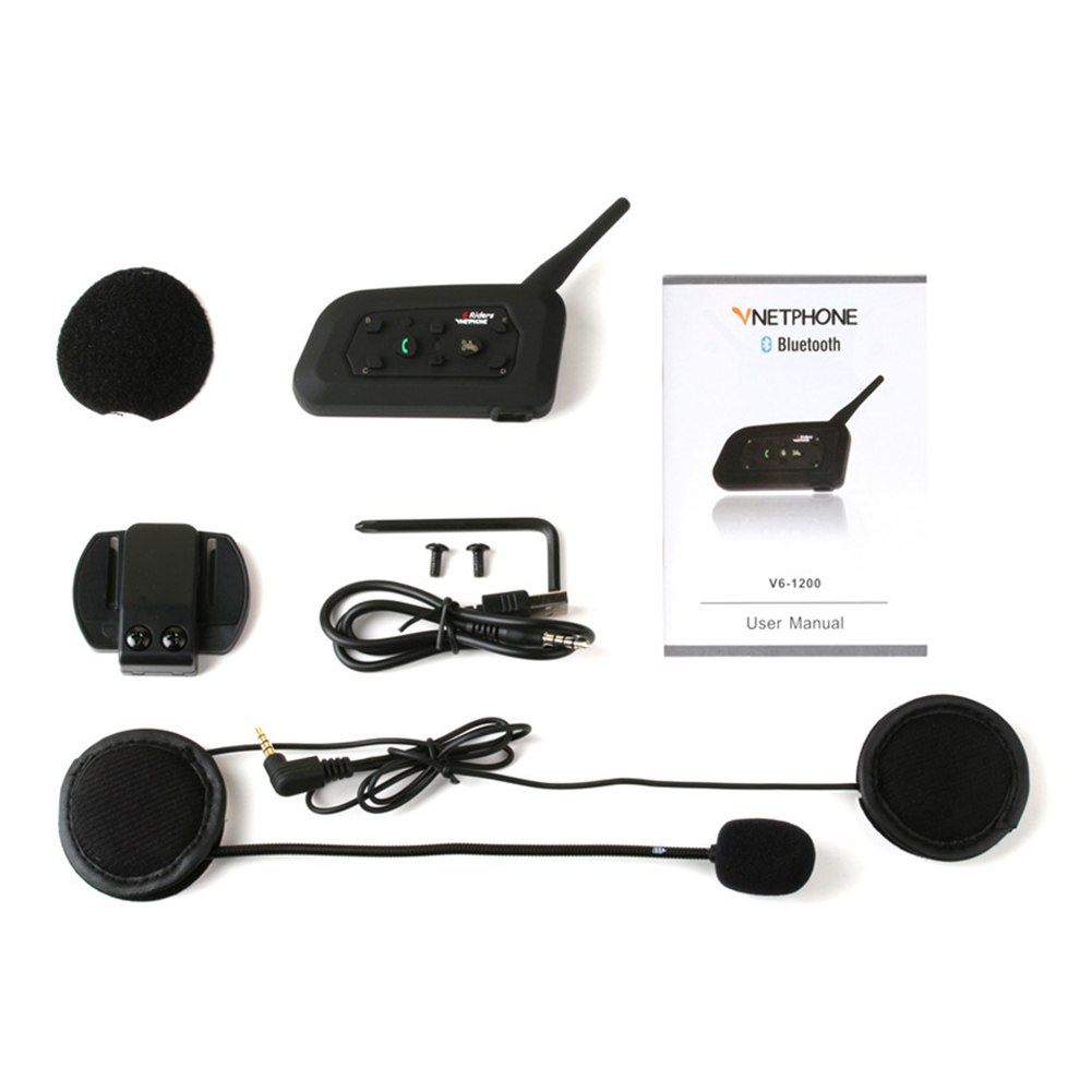 Interphone 1200m Motorcycle Helmet Intercom Intercom Bluetooth Microphone Headset Waterproof Portable Communication System
