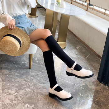 YMECHIC 2019 New Arrival Collget Vintage Lolita Mary Jane Shoes Low Chunky Heels White Black Genuine Leather Buckle Heel Pumps