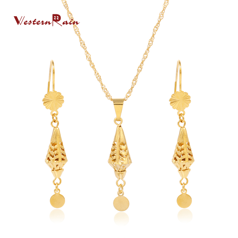 WesternRain Hot Selling Gold Color Fashion African Jewelry Gold Chain for Women Pendant Chain Jewelry Sets G671