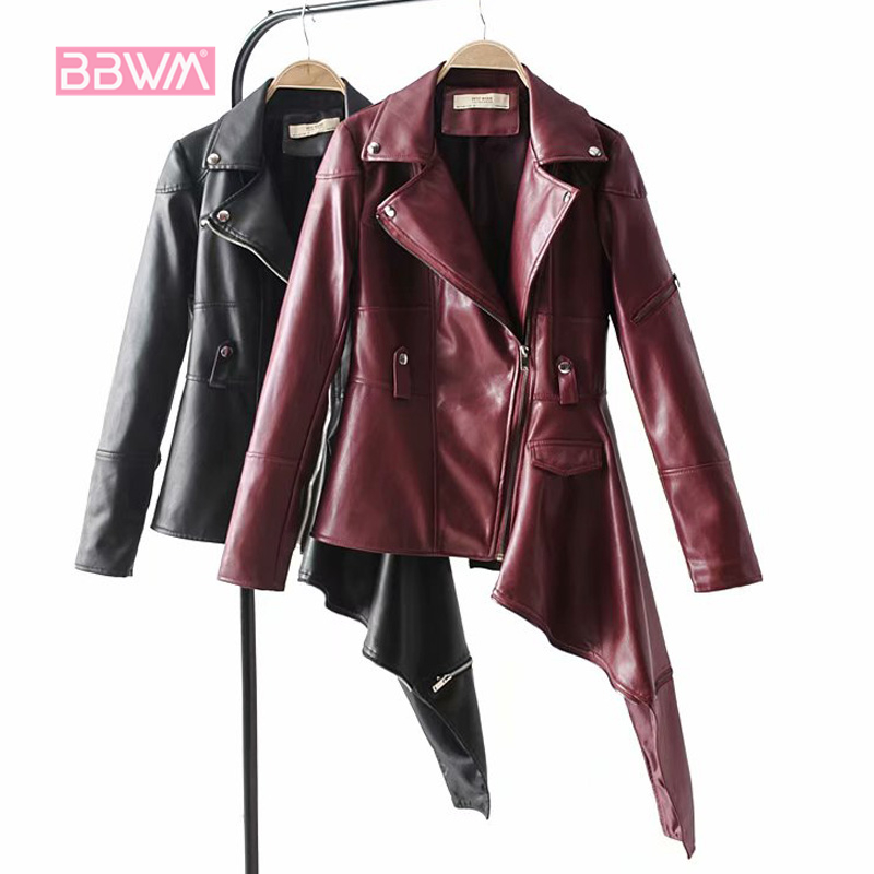Elegant women's 2018 autumn new irregular locomotive pu leather short jacket long sleeve black color female jacket